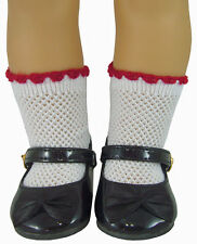 Black Patent Shoes & Red Trim Mesh Socks fits American Girl Molly Doll Clothes