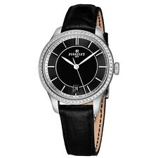 Perrelet Women's First Class Lady Black Dial Leather Automatic Watch A2070/2