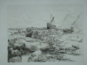 THOMAS MORAN RARE ANTIQUE NAUTICAL SEASCAPE ETCHING