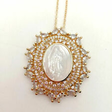 white cameo Virgin Mary Clear CZ Pave Pendant necklace fashion women jewelry