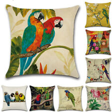45cm Parrot Flowers Cotton Linen Pillow Case Sofa Throw Cushion Cover Home Decor