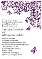 100 Personalized Custom Purple Butterfly Bridal Wedding Invitations Set