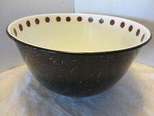 "Black Graniteware 12"" Bowl Large Enamel Sunflowers design Vintage"