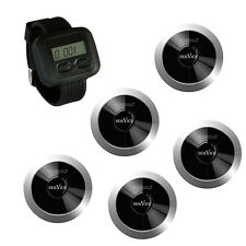 Singcall Wireless Calling System for Kitchen, Bar,1 Watch and 5 Silver Pagers
