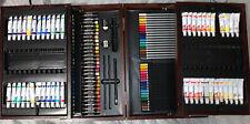 138-Piece Art Drawing Set Artist Sketch Kit Paint Pencil Brown Wood Case Box
