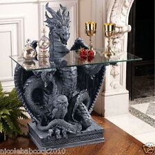 FIERCE LOYAL DRAGON AT YOUR SERVICE SCULPTURAL GLASS TOP TABLE - 51 LBS