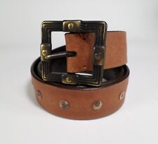 Shell Concho Leather Belt Button Brown Large 34 36