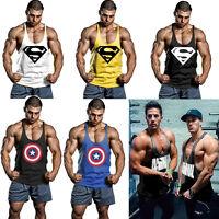 Supermen Captain America Men Gym Tank Tops Bodybuilding Fitness Stringer Workout