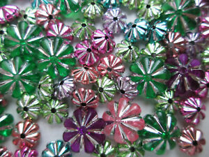 130 x Pretty Shiny Mixed Colour & Size Flower Shaped Beads Metalic