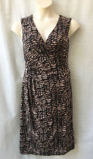 Corporate Dress Size 18 Stretch Brown Black Work Casual Evening Dinner Travel