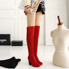 Women's High Heel Plus Sz Shoes Black/Blue/Gray/Red Suede Fabric Over Knee Boots