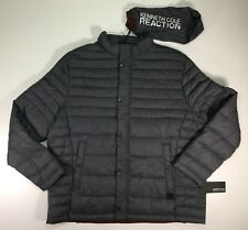 Kenneth Cole Quilted Nylon Puffer Hipster Jacket Packable w/ bag Pewter Gray XXL