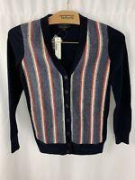 New J Crew Cardigan Sweater XXS Cashmere Blend Navy Blue Red White Gray $110.00