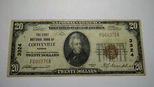 $20 1929 Coffeyville Kansas KS National Currency Bank Note Bill Ch. #3324 VF!