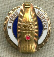 Vintage Coca-Cola 5 Year Service Pin with 10K Gold and Ruby