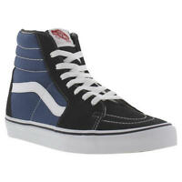 Vans SK8 Hi Tops Black Blue Canvas Mens Womens High Top Trainers Size UK 4-14