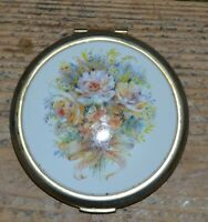 Vintage Compact Mirror - Floral Flower Design with Powder & Puff