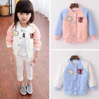 Baby Girl Children Spring Autumn Winter Button Coat Jacket Baseball Outwear Tops