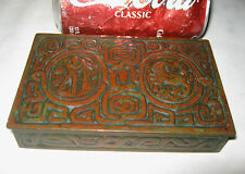 ANTIQUE L.C.T. TIFFANY STUDIOS NY USA BRONZE ZODIAC ART CIGARETTE BOX HOLDER LCT