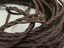 3 Core Brown Antique Braided Woven Silk Fabric Lamp Cable Wire Cord Light