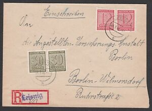Germany. Soviet Zone. West Saxony. Registered Cover to Berlin. Sent 04/03/1946