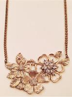 VINTAGE JEWELRY - 1970s Rhinestone Flowers Pendants Gold Brushed Necklace