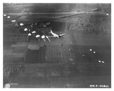 WWII Airborne Batallion Jumping From C-47 Near Naples Silver Halide Photo