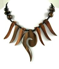 "Handmade Swirl Boho Tribal Sono Wooden Cord necklace 18""-28"" adjustable ; DA033"