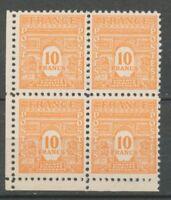 N°629, BLOC DE 4, 10f. Orange Arc de Triomphe cdf, Neuf** SUP X1141