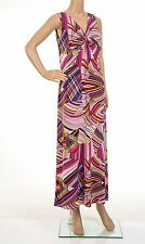 MICHELLE HOPE Summer Jersey Knot Front Dress Multi Pink Size 10-12 BNWT