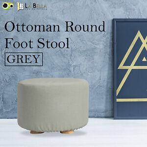 Fabric Ottoman Round Foot Stool Rest Pouffe Wooden Leg Padded Seat - GREY