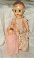 Vtg Ideal Lolly Walker Doll 9 inch Hard Plastic pink dress/panties & Baby Doll