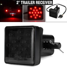 2'' Trailer Hitch Receiver Cover With 15 LED Brake Leds Light Tube Cover w/ Pin