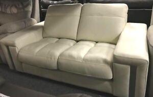 Modern SLEEK white 3 Seater + 2 Seater With Chrome Detail