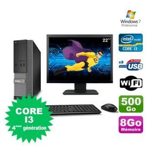 """Lot PC Dell Optiplex 3020 SFF I3-4130 3.4GHz 8Go 500Go DVD Wifi W7 + Ecran 22"""""""