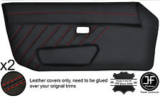 RED STITCH STYLE 3 2X FULL DOOR CARD LEATHER COVER FITS PORSCHE 924 944 75-91