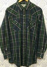 MWG Western Shirt Mens Size L Pearl Snap Button Blue Plaid Rockabilly Canada