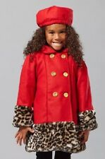 Nwt penelope Mack Ted Double Breasted Coat Leopard Print Winter Girl Hat Sz 4