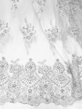 """WHITE MESH W/ EMBROIDERY BEADS & SEQUINS BRIDAL LACE FABRIC 52"""" WIDE 1 YARD"""