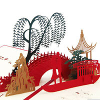 3D Couple Bridge Tree Paper Cut Greeting Card Postcard Birthday Invitations L