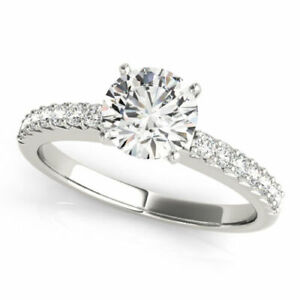 1.32 Ct Round Cut Diamond Engagement Wedding Ring14K Solid White Gold Size 5.5 6