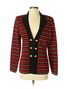 Women Exclusively Misook Black Red Striped Gold Button Hook Front Jacket Size S