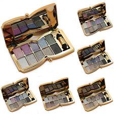 10 Farben Lidschatten Palette Schimmer Make Up Kosmetik Glitzer mit Pinsel Set~