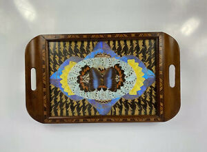 Butterfly Wing Tray Wooden Inlay 1920s Brazil Taxidermy