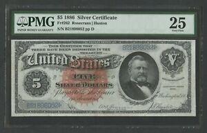 """FR262 $5 1886 S/C """"SILVER DOLLAR BACK"""" PMG 25 CHOICE VF WLM7731"""