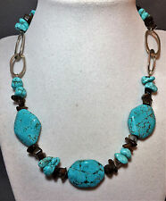 """Beautiful 925 Sterling Silver And Turquoise Handpicked Bead Necklace 17.5"""""""