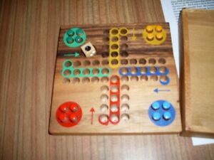 HANDMADE WOODEN TRADITIONAL GAME LUDO TRAVEL  SIZE  BRAND NEW
