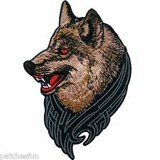 Wild Wolf Red Eyes Fox Dog Biker Racing Tattoo Motorcycle Sew Iron on Patch 0383