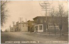 Street Scene in Cokato MN RP Postcard 1910
