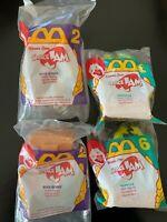 "Lot of 4 1996 McDonalds WB ""Space Jam"" Happy Meal Toys - 2 Bugs, 2 Monstar NIP"